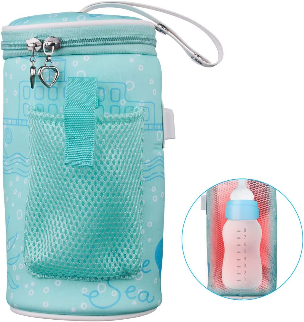 Milk Bottle Heated Bag, USB Portable Baby Infant Warmer Travel Mug Heater Feeding Nursing Insulated Storage Bag Thermostat for Feed Newborn Constant Warm Beverage and Intelligent