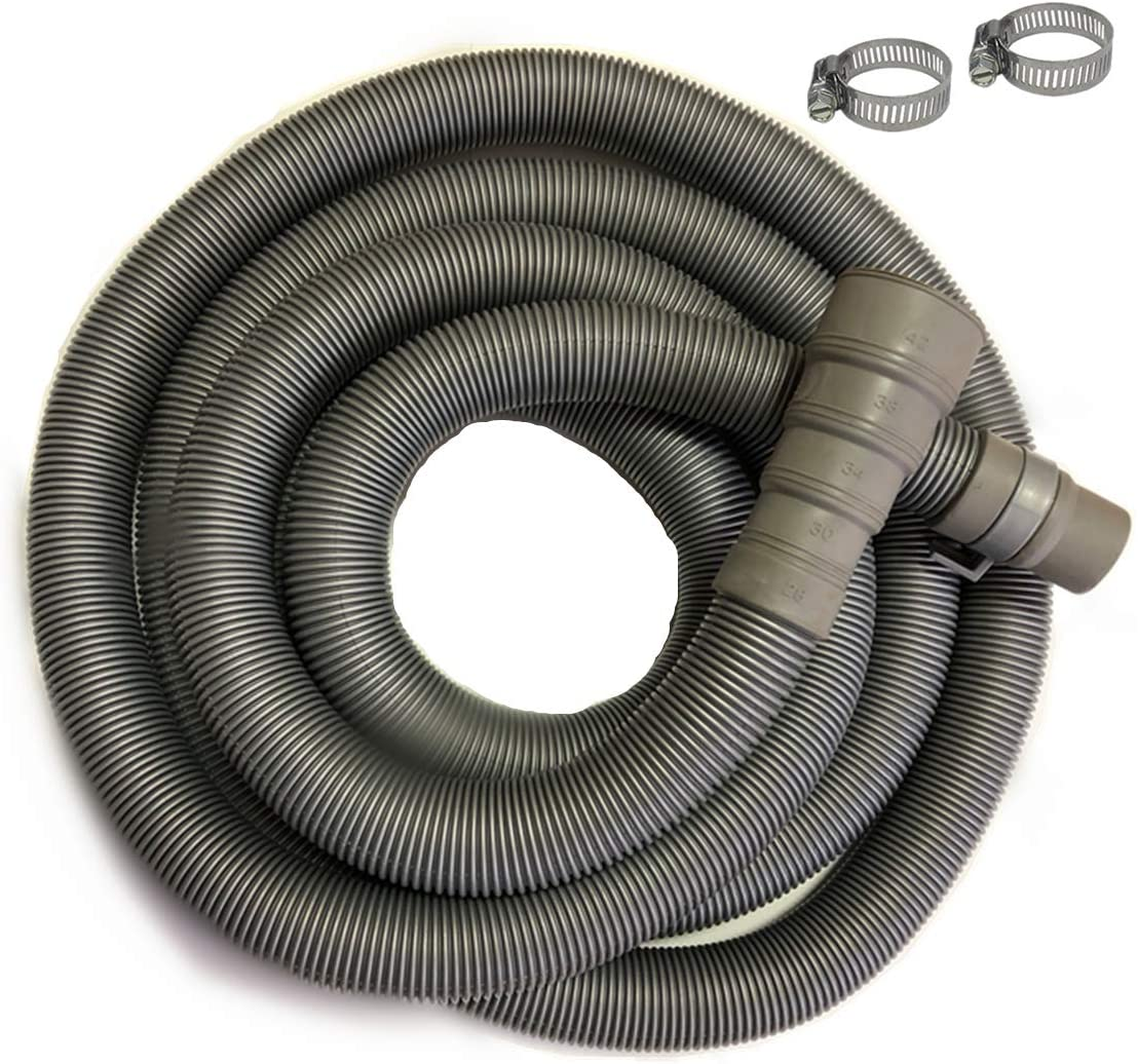 Fits Up To 1-1//4 Inch Drain Outlets Industrial Grade Polypropylene Discharge Hose for Washing Machines 6ft Heavy-Duty Washing Machine Drain Hose With Clamp