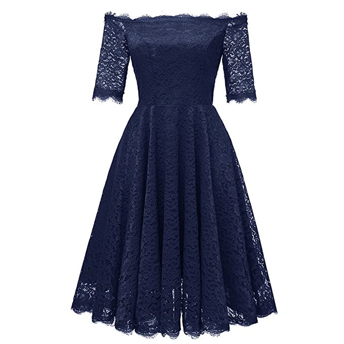 OHQ Vestidos Mujer Vintage Off Shoulder Princesa Floral Encaje CóCtel Aline Swing Vestido Vestir Ropa Falda