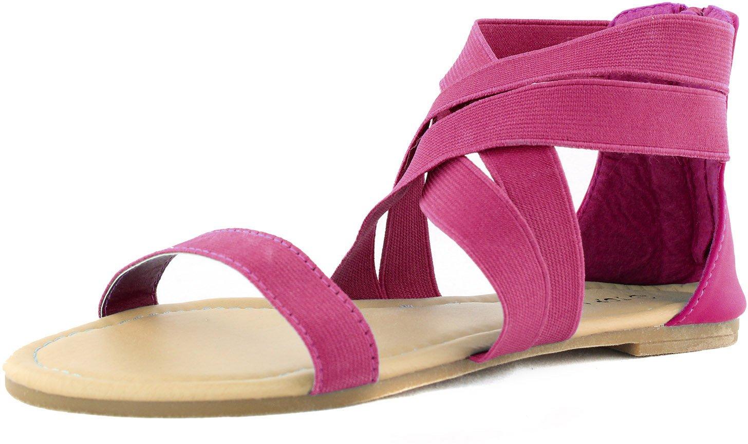 Top Moda Women's Peak-3 Fuchsia Criss Cross Causal Flat Sandals Shoes, Fuchsia, 8.5