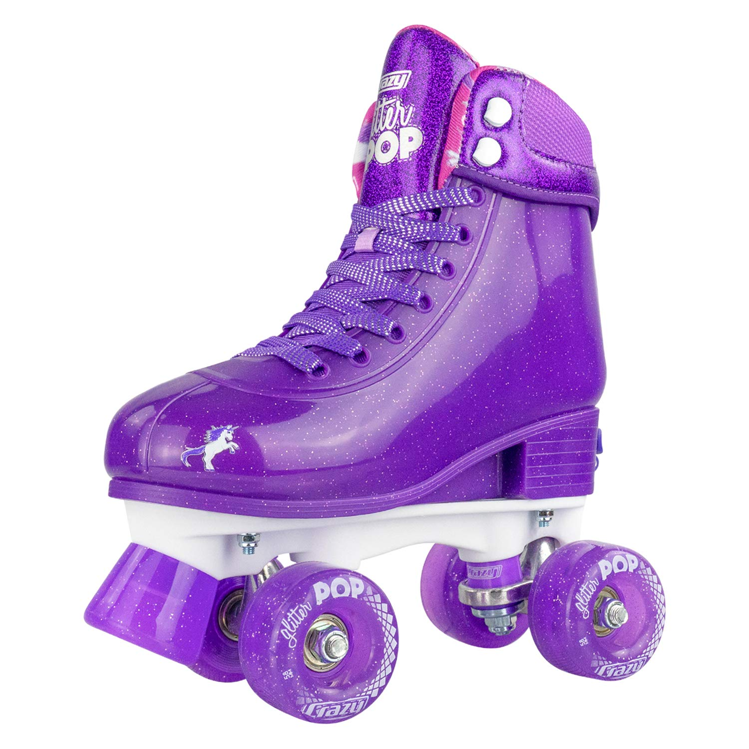 Crazy Skates Adjustable Roller Skates for Girls and Boys - Glitter Pop Collection - Purple (Sizes jr12-2) by Crazy Skates