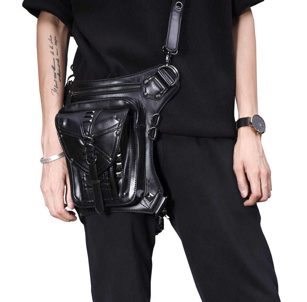 MIRUIKE Steampunk Leather Handbag Gothic Purse Steam Punk Shoulder Bag Steampunk Accessories Black
