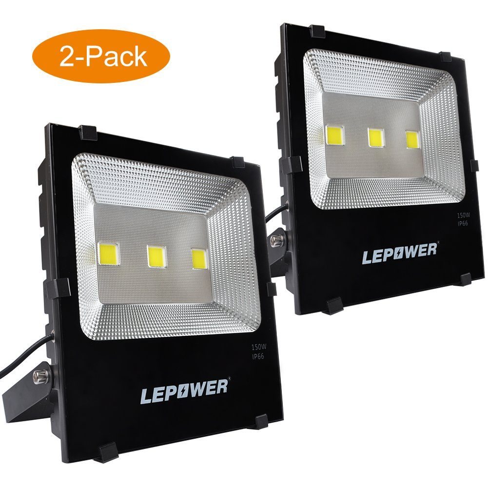 LEPOWER 2 Pack 150W New Craft LED Flood Light, Super Bright Outdoor Work Light, 750W Halogen Bulb Equivalent, IP66 Waterproof, 11000lm, 6500K, Led Flood Light Outdoor(150W White Light)