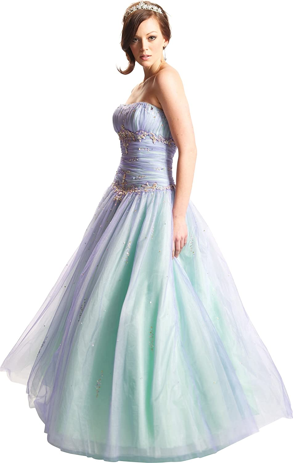 Amazon.com: Strapless Beaded Chiffon Ball Gown Prom Dress, Small ...