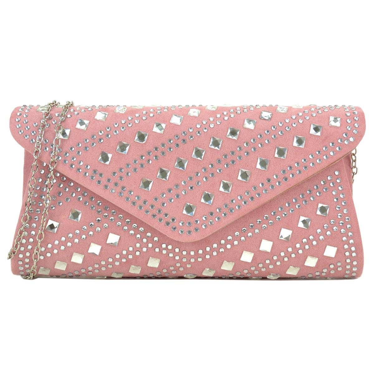 Dasein Rhinestone Evening Bag Glitter Clutch Purses Studded Envelope Shoulder Handbag Prom Party Bag
