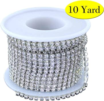 Clear Glass Crystal Rhinestone Compact Close Silver Chain Wedding Decoration Sew