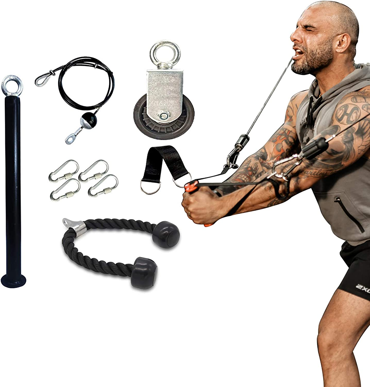 BAG WIZARD Fitness LAT and Lift Pulley System, Cable Machine with Upgraded Loading Pin for Triceps Pull Down, Biceps Curl, Back, Forearm, Shoulder-Home Gym Equipment
