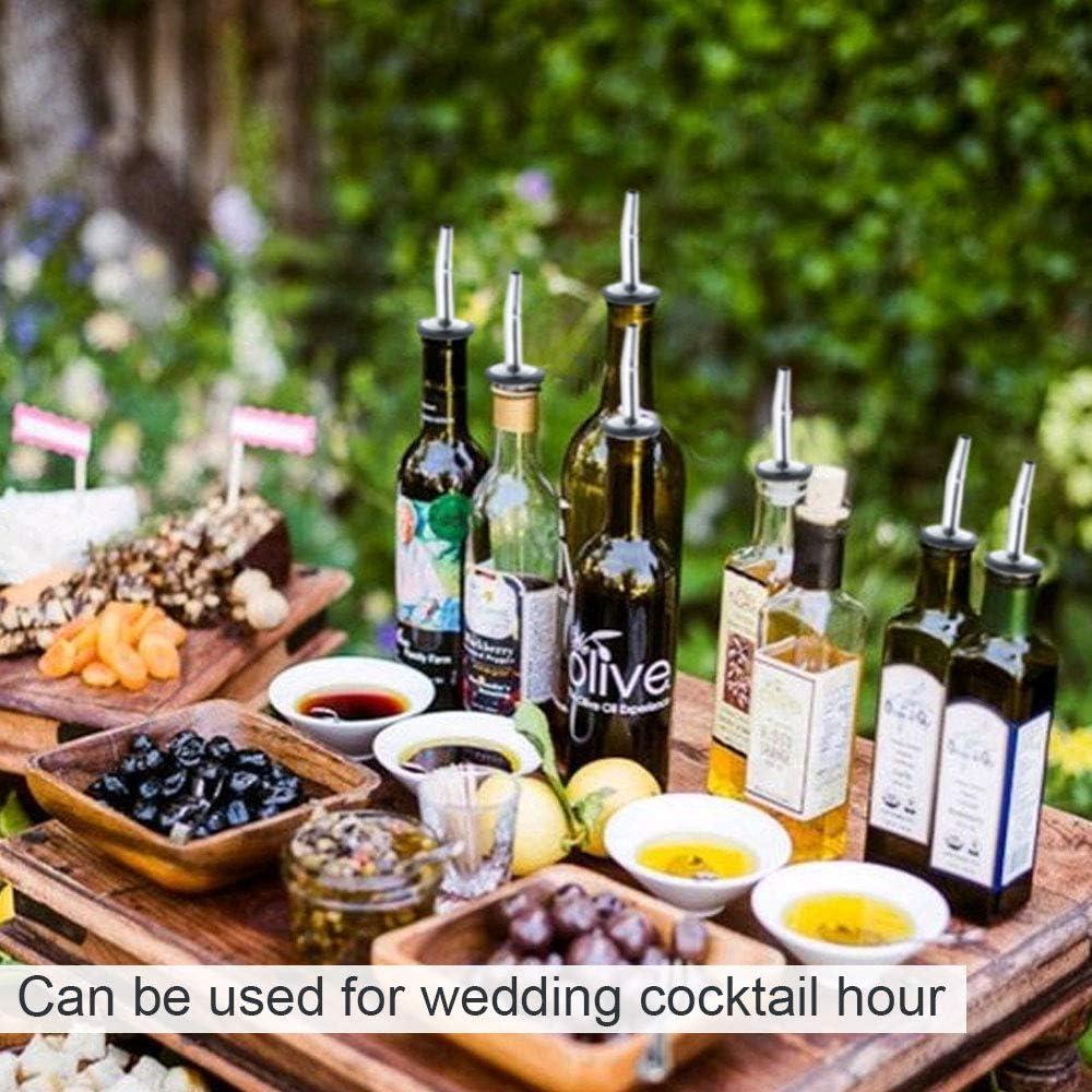 ManLee 12pcs Vertedor de Acero Inoxidable para Botellas con Tap/ón Vertedor Aceite Boquilla Dosificador Licor Dispensador Botellas de Aceite y Vinagre