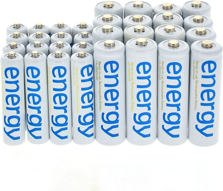 16x AA 2a 3300mAh+16x AAA 3a 2000mAh Ni-Mh Energy 1.2V Rechargeable Batteries