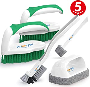 Holikme 5 pack Deep Cleaning Brush Set,clean brush,Scrub Brush&Grout and Corner brush&Scrub pads with Scraper Tip&Scouring pads,for bathroom,Floor, Tub, Shower, Bathroom and Kitchen Surface(Green)