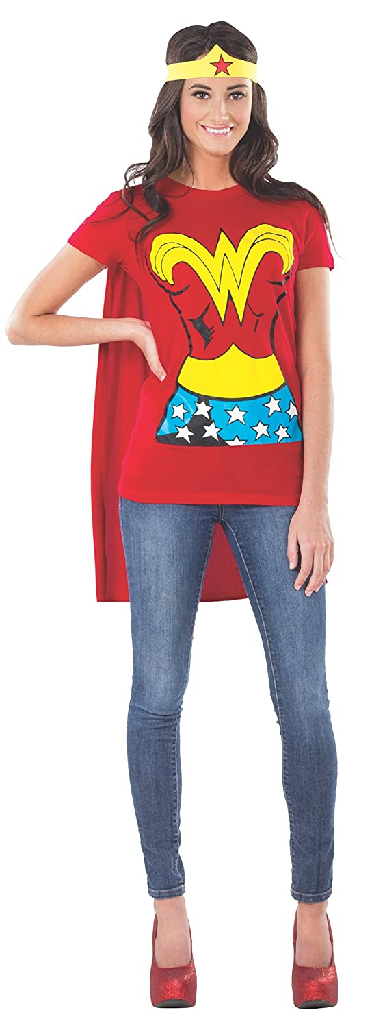 Rubie's Costume Dc Comics Wonder Woman T-Shirt with Cape and Headband, Red, Small Costume Rubies Costume Co (Canada) 880475S