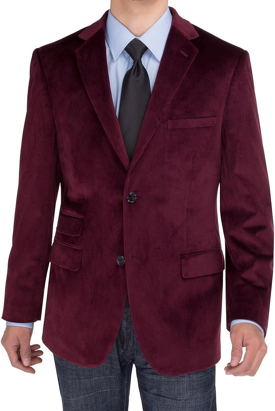 Salvatore Exte Mens Two Button Blazer Modern Fit Velvet Side-Vent Suit Jacket