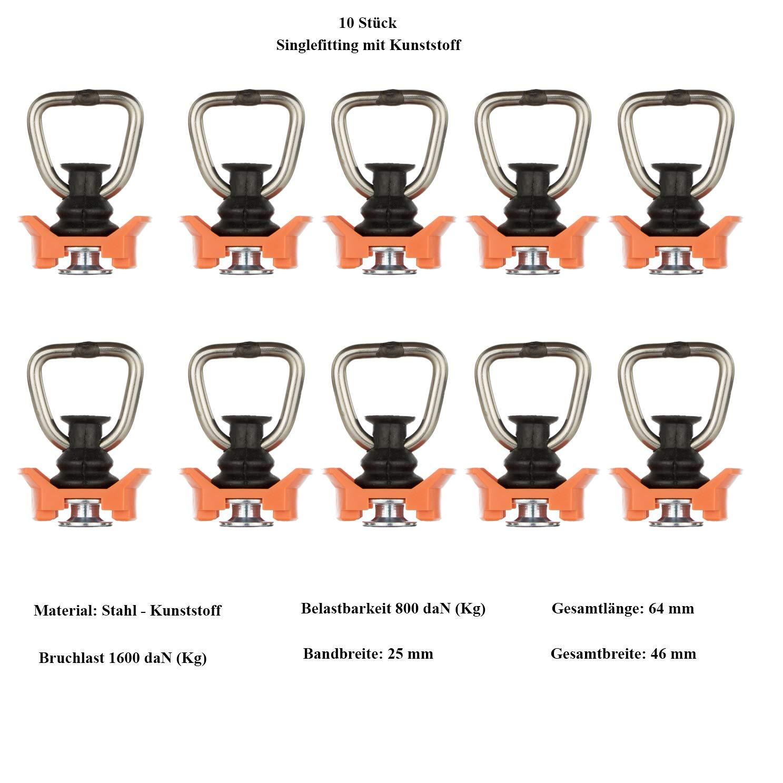 Fitting Single Kombi Doppelfitting - 2 St/ück Vierkant Zurrschiene 4m Safetytex Airlineschiene Zurrschiene 2m halbrund eckig mit Bohrungen