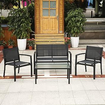 IKayaa 4PCS Gartenmöbel Set Gartengarnitur Sitzgruppe Gartenstuhl Aus Eisen  Mit Glastisch