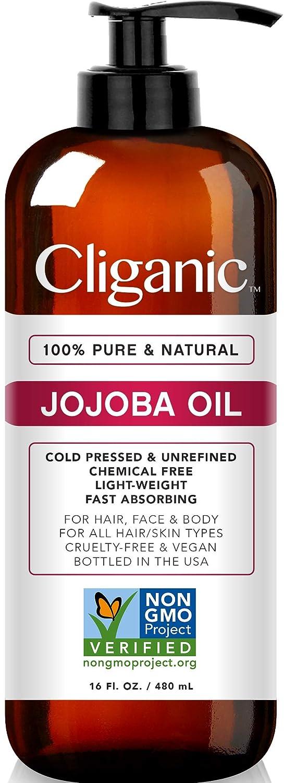 Cliganic Jojoba Oil Non-GMO, Bulk 16oz | 100% Pure, Natural Cold Pressed Unrefined Hexane Free Oil for Hair & Face