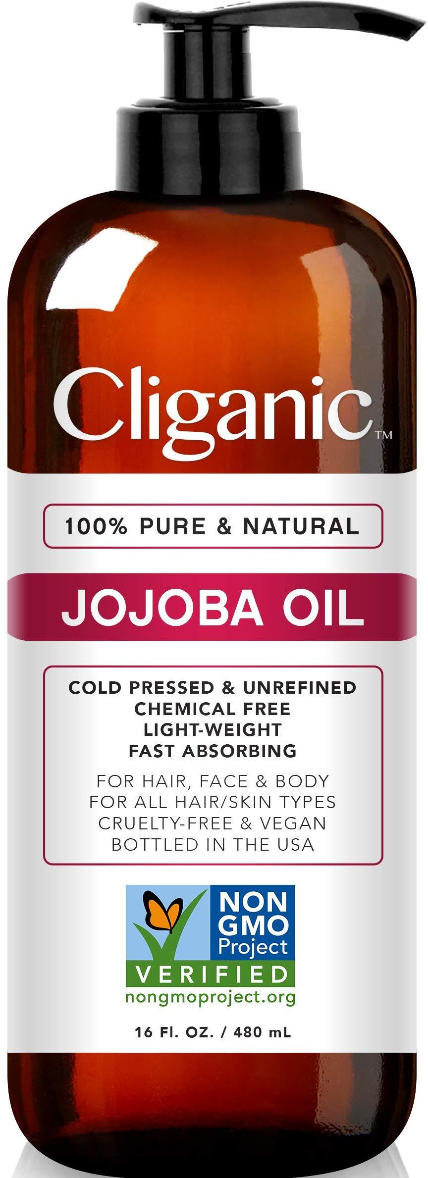 Cliganic Jojoba Oil Non-GMO, Bulk 16oz   100% Pure, Natural Cold Pressed Unrefined Hexane Free Oil for Hair & Face