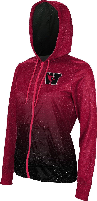 School Spirit Sweatshirt Ombre ProSphere Wesleyan University College Girls Zipper Hoodie