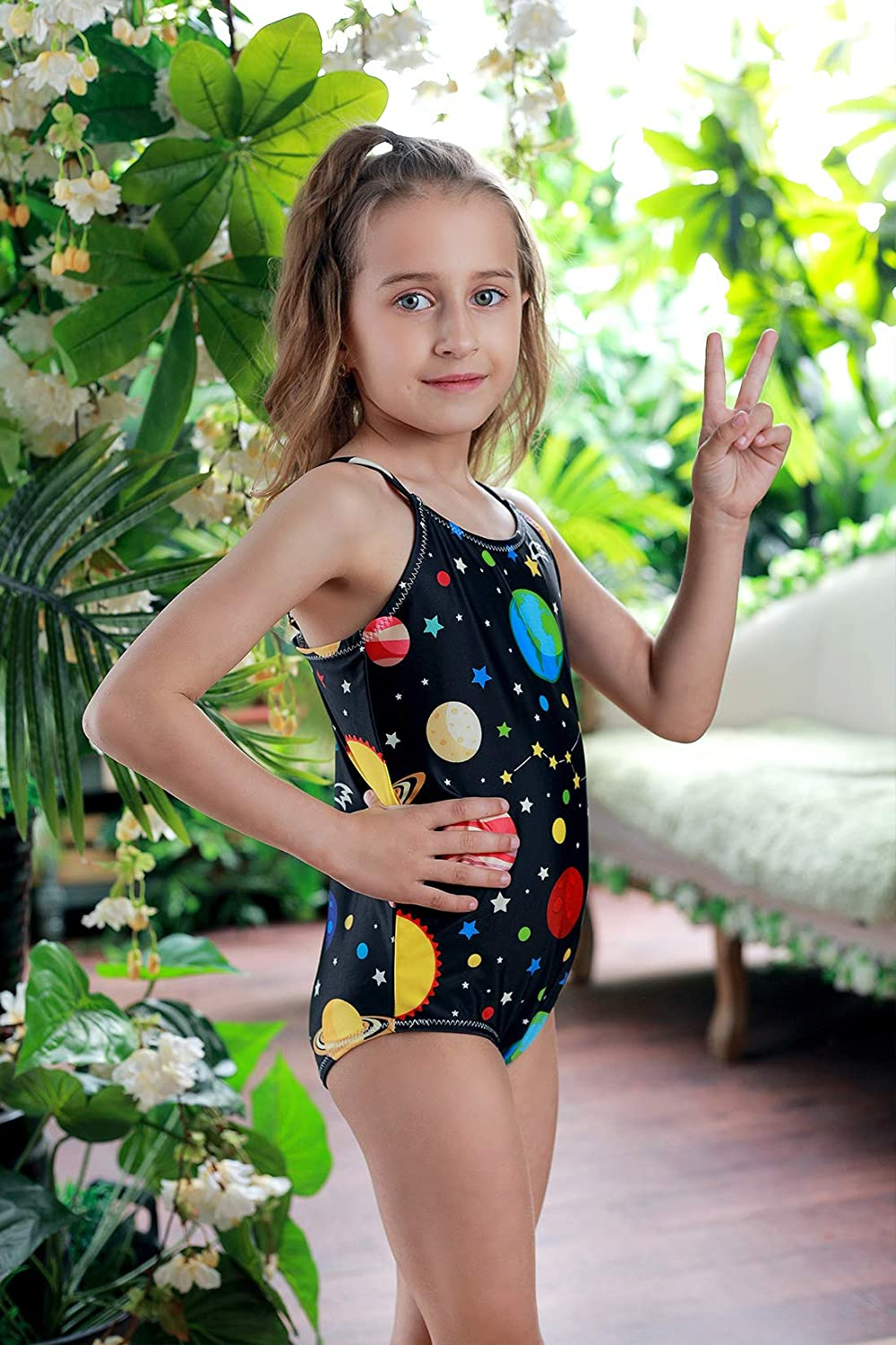 AIDEAONE Girls One Piece Swimsuit All Over Print Novelty Swimwear Bathing Suits 4-10 Years