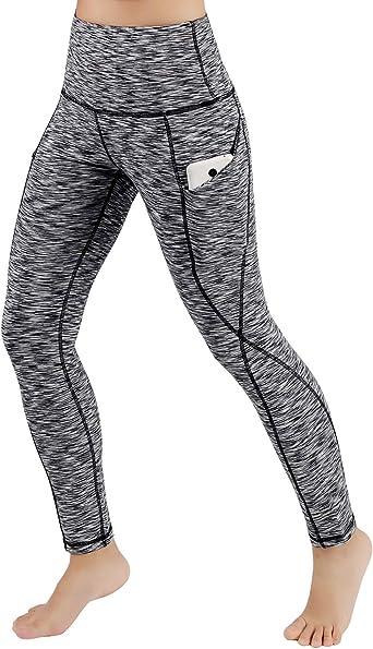 Amazon Com Ododos Pantalones De Yoga De Cintura Alta Para Mujer Con Bolsillos Control De Barriga Pantalones De Entrenamiento Para Correr Leggings De Yoga Elasticos De 4 Vias Con Bolsillos Spacedyeblack Pequeno Clothing