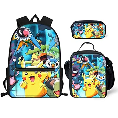 Aulaygo Po-ke-mon Pi-ka-chu School Backpack Set Durable Book Bags Lunch Box Pencil Case for Boys/Girls | Kids' Backpacks