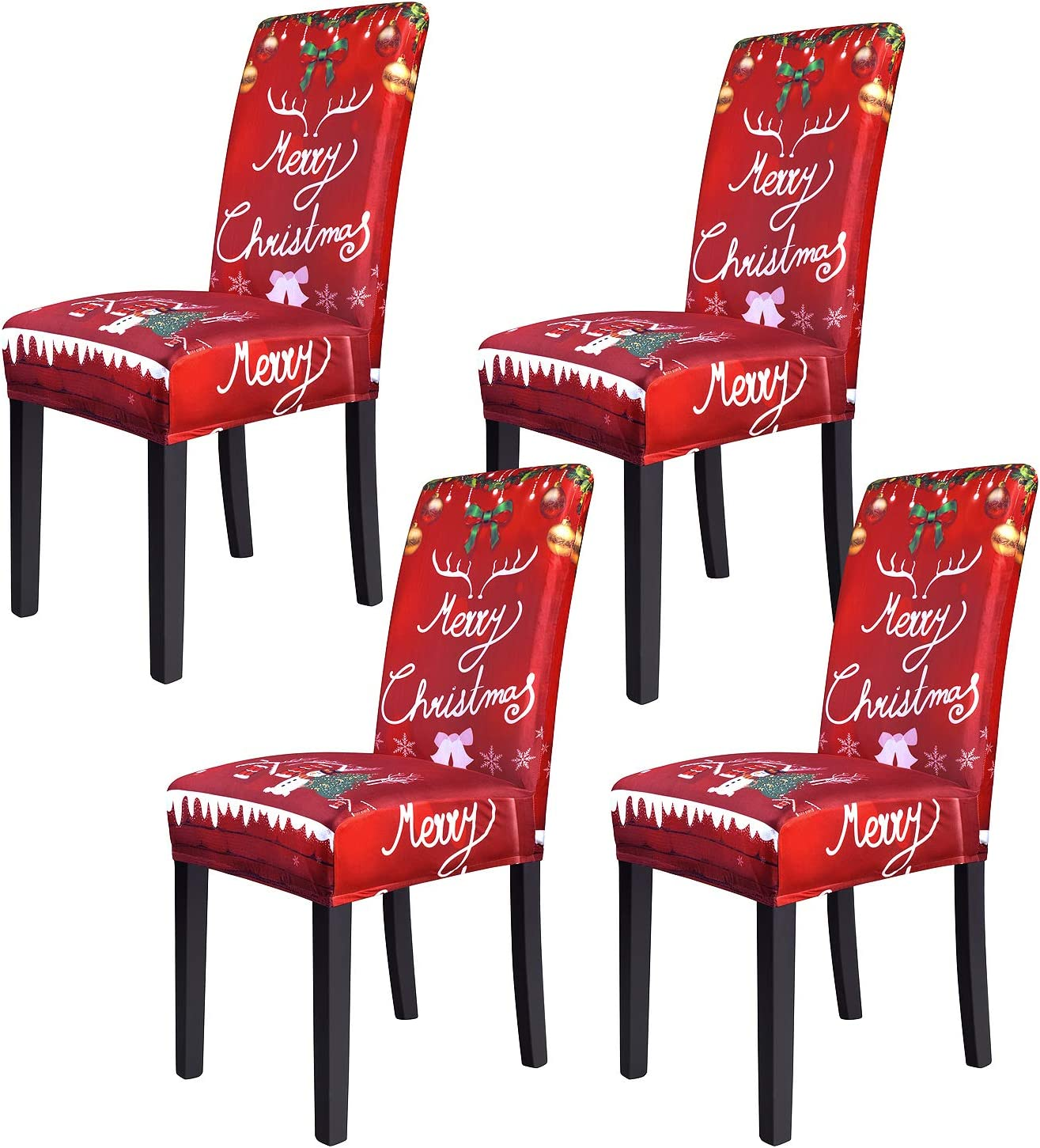 Dining Chair Cover Stretch Washable Chair Seat Protector for Dining Room, High Back Slipcovers Persons Chair Cover for Christmas Kitchen Decoration Restaurant Holiday Festival Party Decor Set of 4: Kitchen & Dining