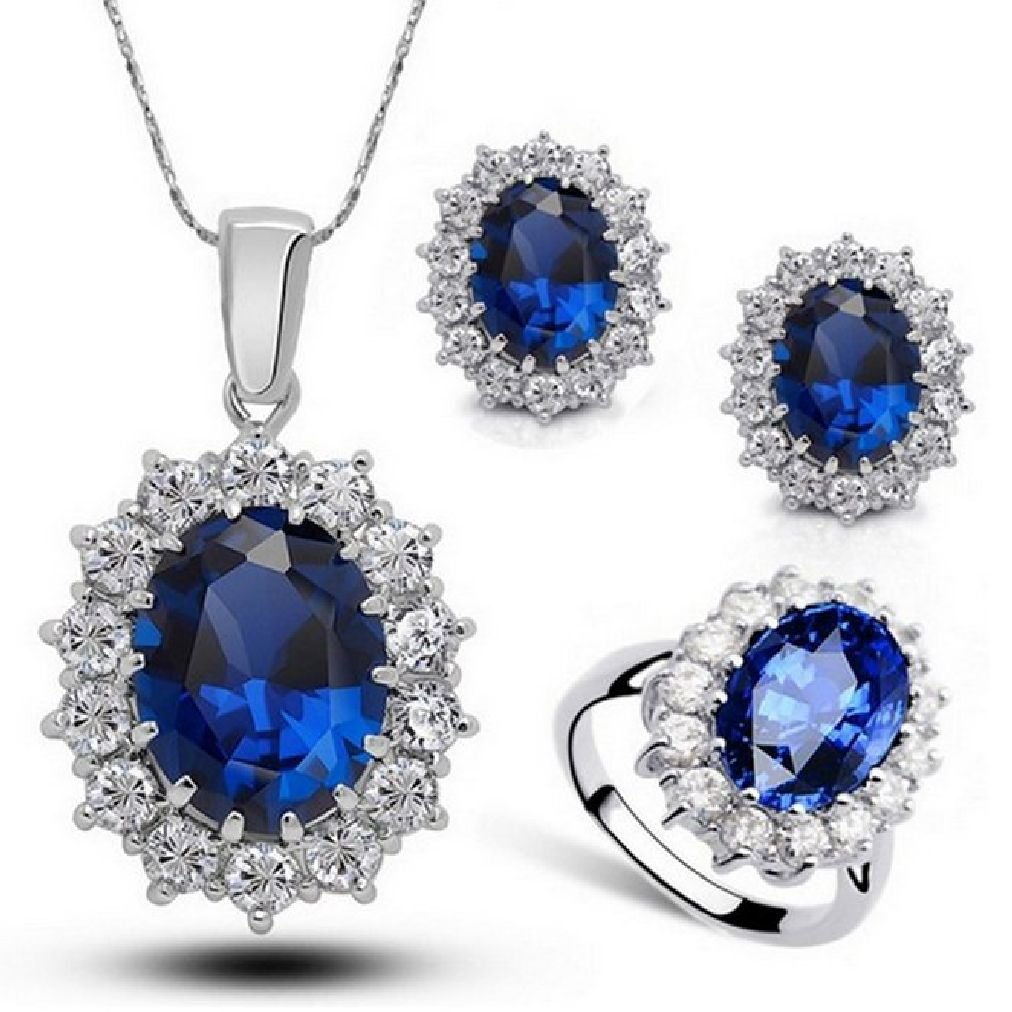 Fancy Austria Crystal Necklace Ring Earrings Jewelry Set Royal Blue Size 7