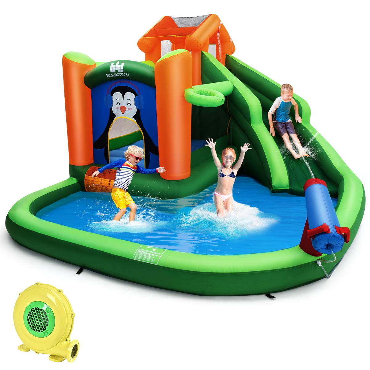 BOUNTECH Inflatable Water Slide, 6 in 1 Jumping Bounce House w/ Climbing Wall, Splash Pool, Water Cannon, Basketball Rim, Including Oxford Carry Bag, Repair Kit, Stakes, Hose (with 680W Air Blower) by BOUNTECH