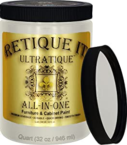 Retique It All-in-One Chalk Based Paint Ultratique for Furniture & Cabinets, 32 oz (Quart), 22 Old Linen