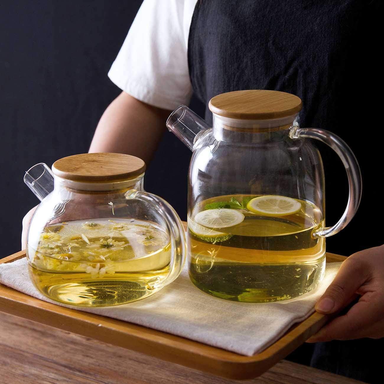 caja fuerte en la cocina 1000ML Tetera de vidrio con filtro de bobina de alambre desmontable para t/é suelto caldera de jarra de jarra de jarra de agua caliente//fr/ía resistente al calor