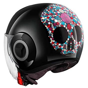 Casco SHARK Nano Jewel Jet Moto Scooter Negro Calavera Idea regalo talla S