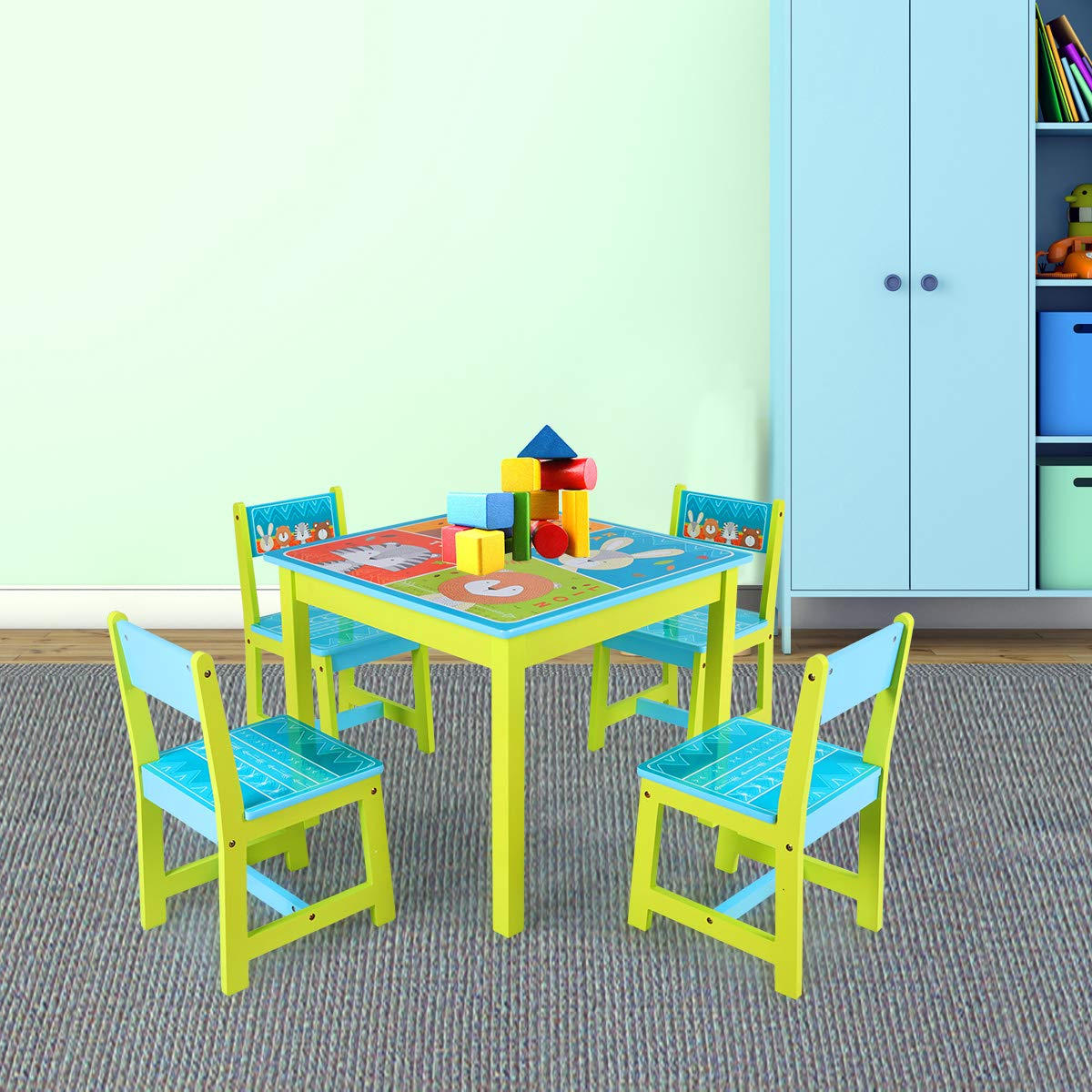 BABY JOY Kids Table and 4 Chairs Set, Wooden MDF Desk for Studying Playing Dining Indoors & Outdoors Activity, Toddler Baby Gift Desk Furniture Cartoon Pattern (Table and 4 Chairs) by BABY JOY (Image #7)