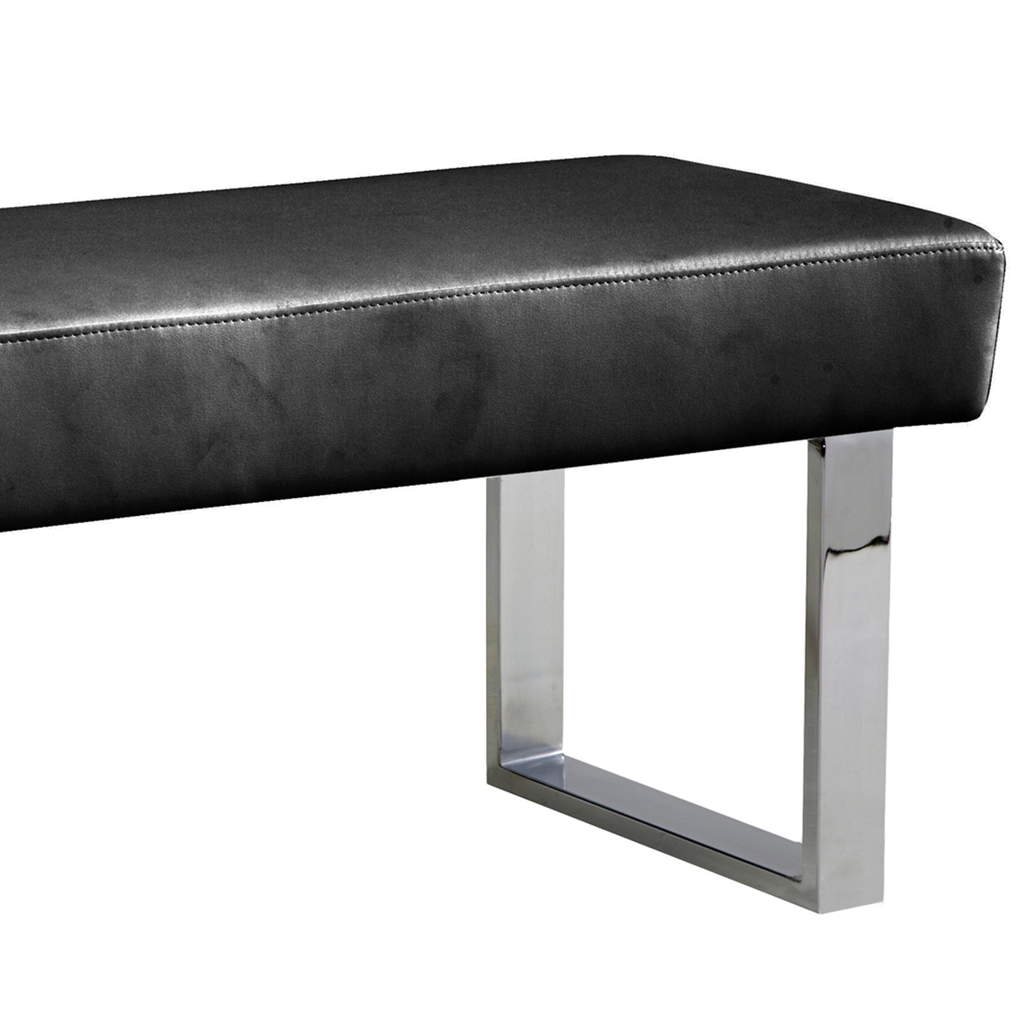 Armen Living LCAMBEBLBCH Amanda Bench in Black and Chrome Finish by Armen Living (Image #3)
