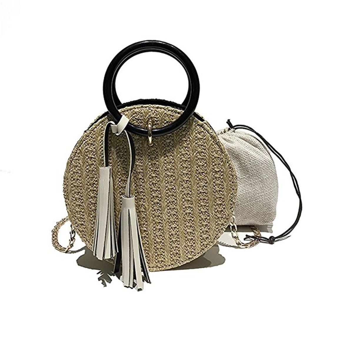 Women Straw Purse, JOSEKO Summer Beach Bag Circle Crossbody Bag Round Rattan Bag Shoulder Satchel Khaki 7.87''x 3.93''x 7.87''(LxWxH)