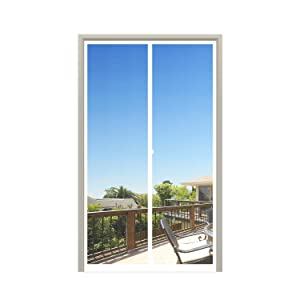"MAGZO Magnet Screen Door 32 x 80, Magnetic Mesh with Heavy Duty for Entry Door Fits Door Size up to 32""x80"" Max-White"