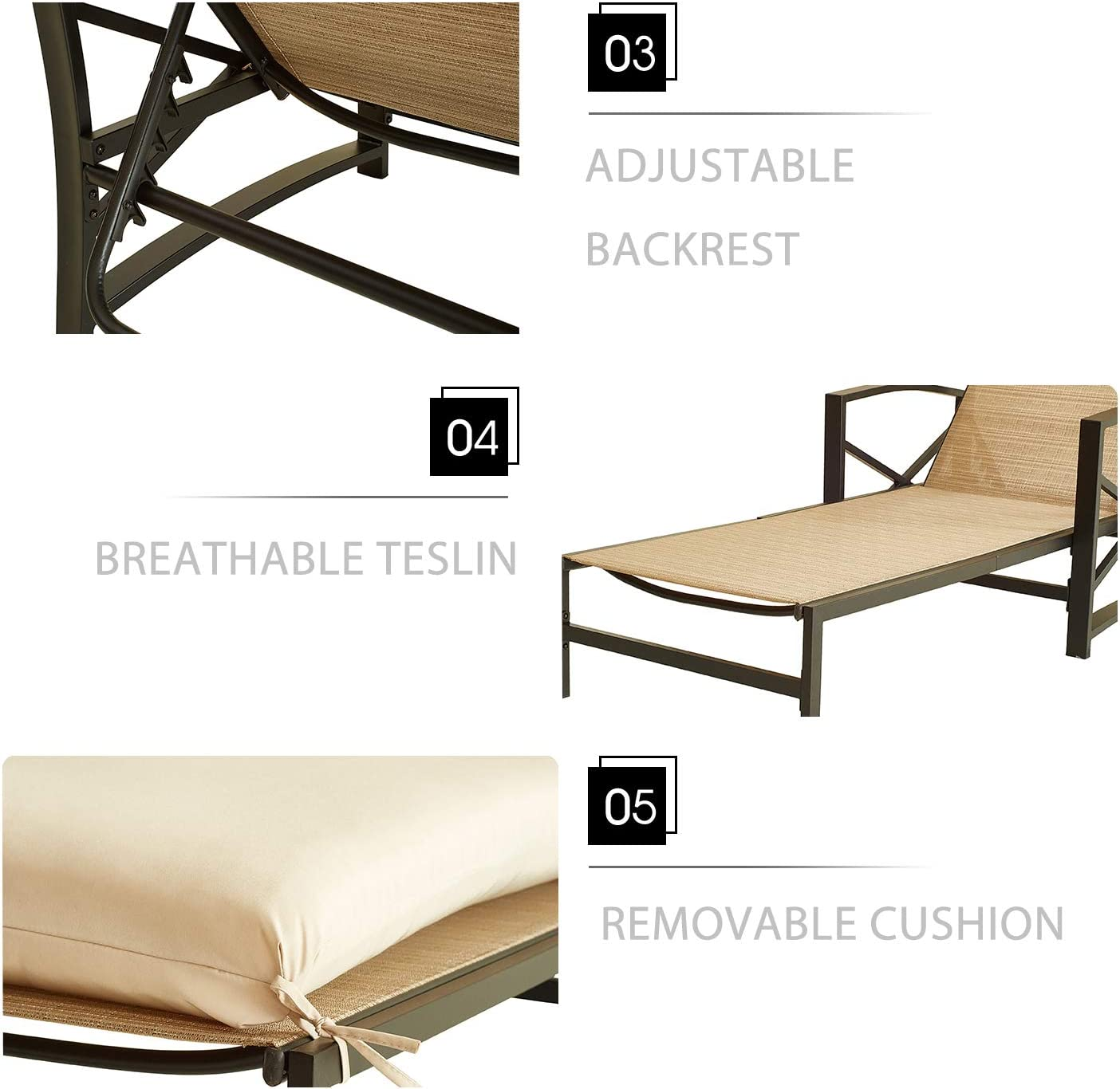 LOKATSE HOME 2 Pieces Outdoor Patio Chaise Lounge Blue Removable Cushions and Pillows with Adjustable Backrest and Armres Reclining Chairs for Beach Poolside Balcony Backyard Garden Khaki