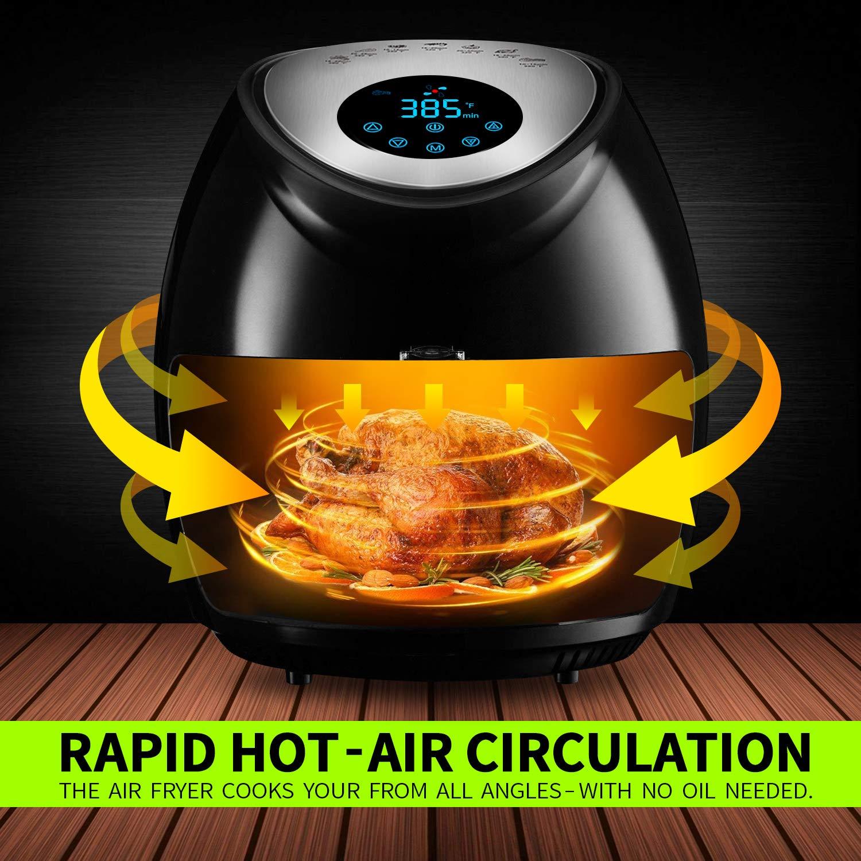 Tohsssik Air Fryer 3.7 Quart, Digital Air Fryer 1500w with Recipes Book