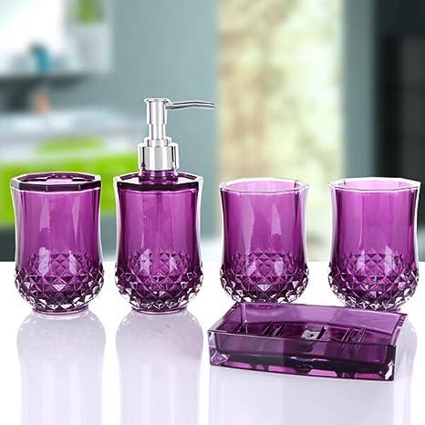 zhihui Juego de accesorios para baño de cristal acrílico con 5 piezas de cristal incluye dispensador