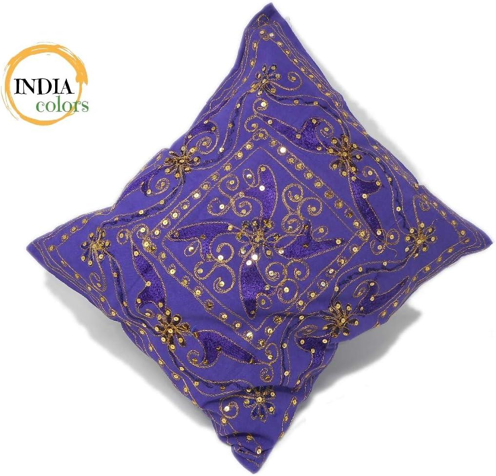 India colors Bleu Housse de Coussin de Broderie Artisanale en Inde.