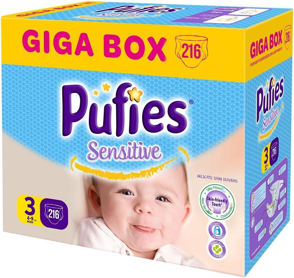 Pufies Sensitive MINI Pa/ñales para Beb/és 216 Pa/ñales