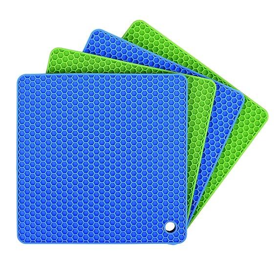 Ankway Silikon Topf-Untersetzer (4er-Paket), Küche Topflappen Set Multifunktional & Langlebig Topfuntersetzer, Lsolierung Rut