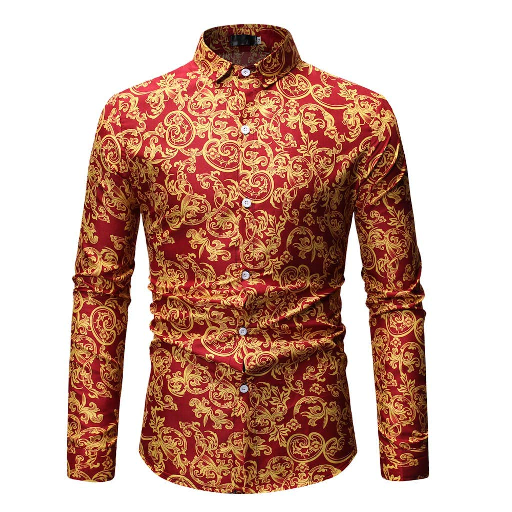 Mens Shirts Casual Printed Fit Long Sleeve Shirts Button Up Blouse Dress Shirts Large SizeTop for Jeans