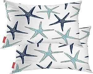 BaoNews Coastal Nautical Pillow Covers, Coastal Nautical Starfish Repeat Pattern Navy Blue Lumbar 12 x 20 Inches Decorative Throw Pillow Covers Cotton Cushion for Sofa Bedroom Car, Blue 07, Set of 2