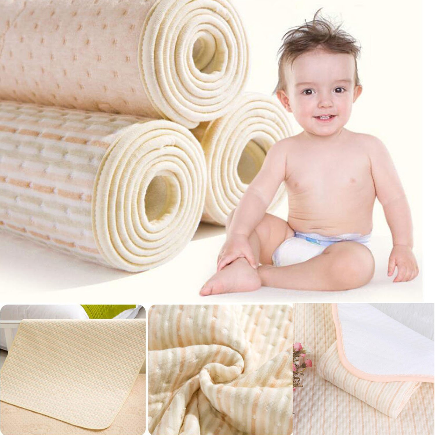 Infant Bamboo Fiber Waterproof Changing Pad - Natural Organic Cotton Mattress Pad Cover - Reusable Portable Changing Mat for Home and Travel (XXL (39.4 x 47.2 Inch), Brown & Green & White Stripes) Jerrybaby
