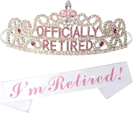 I am Retired Satin Sash Retirement Party Favors Gift Present White and Gold