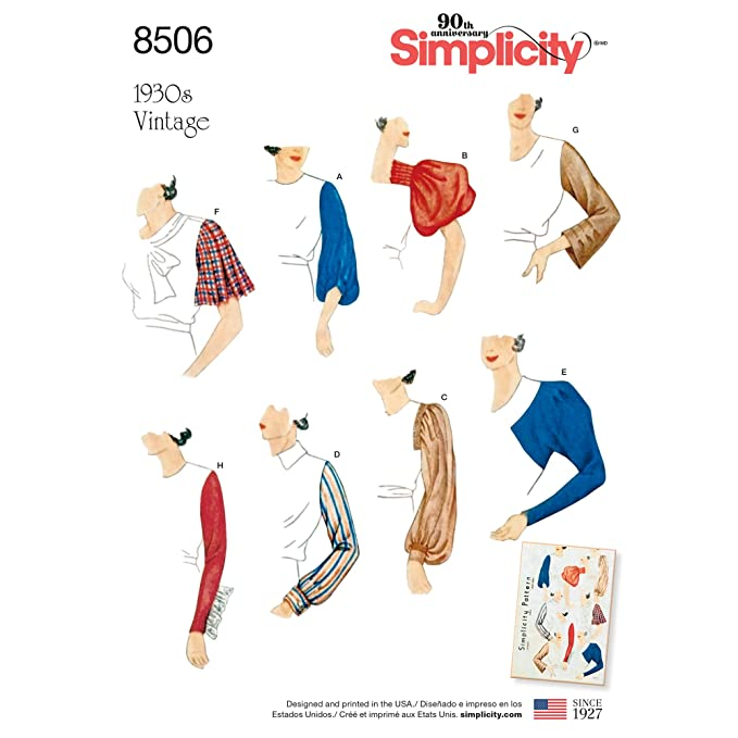 1930s Fashion Colors & Fabric 1930s Sleeves Simplicity Creative Patterns US8506A Sleeves for Tops Vest Jackets Coats  A (10-12-14-16-18-20-22) $10.55 AT vintagedancer.com