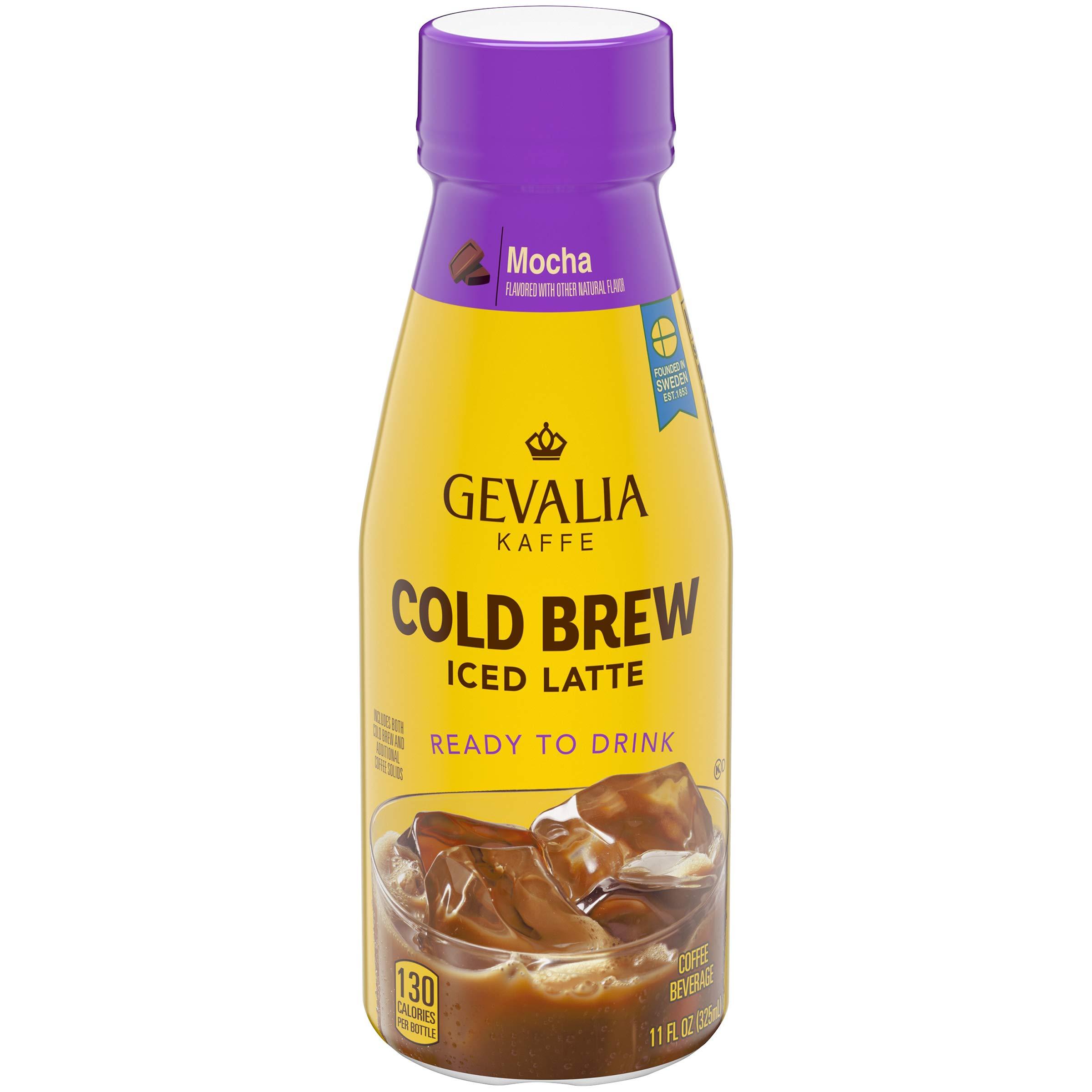 Gevalia Mocha Iced Latte Cold Brew Iced Coffee, 11 Fl oz Bottle (Pack of 12)