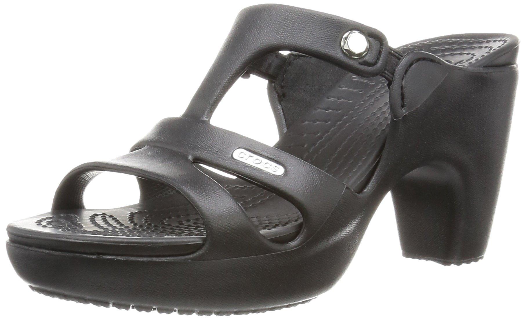 crocs Women's Cyprus V Heel W Dress Sandal, Black/Black, 9 B(M) US