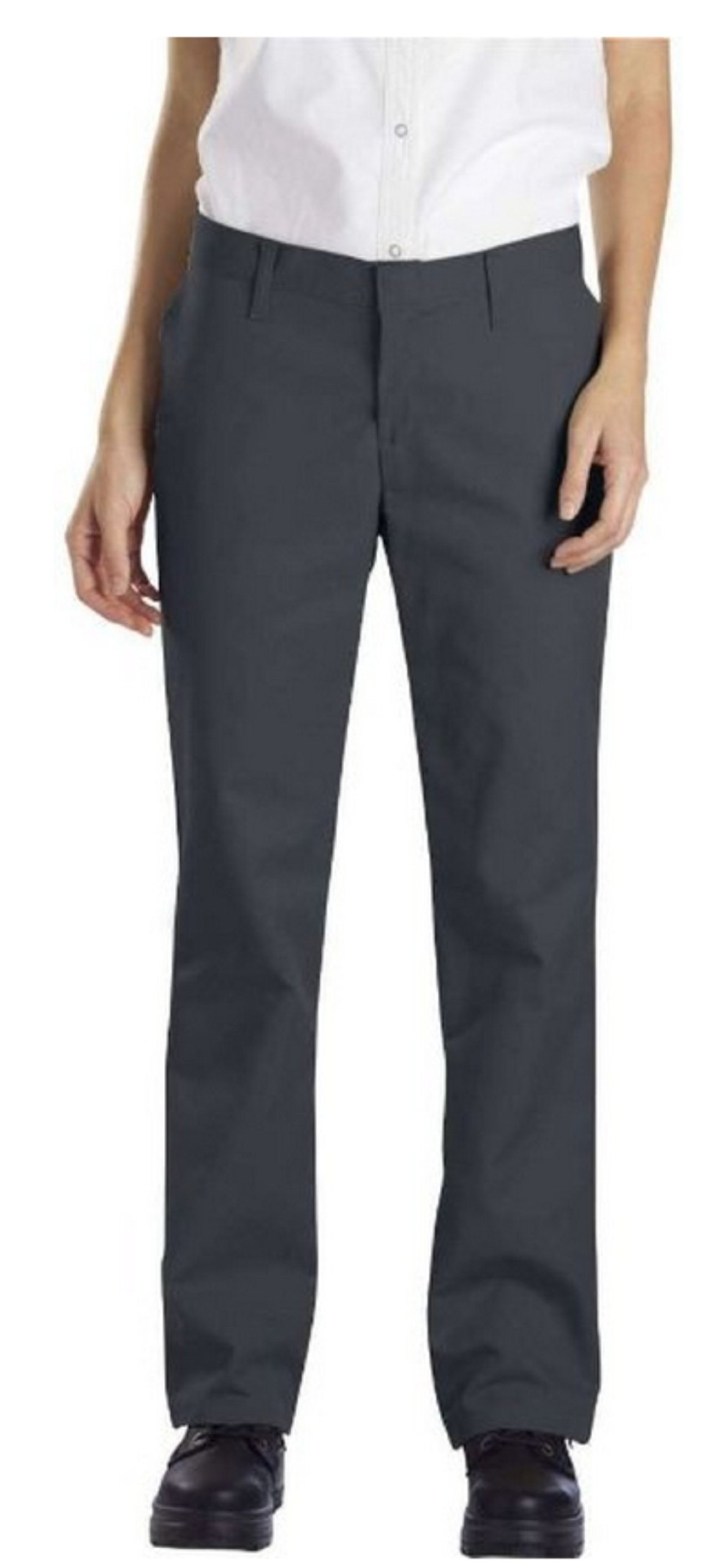 Dickies Occupational Workwear FP322CH 20 RG Polyester/ Cotton Relaxed Fit Women's Industrial Flat Front Pant with Straight Leg, 20 Regular, 31-1/ 2'' Inseam, Charcoal