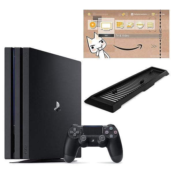PlayStation 4 Pro ジェット・ブラック 1TB (CUH-7100BB01)【Amazon.co.jp限定】アンサー 縦置きスタンド付 & オリジナルカスタムテーマ (配信)