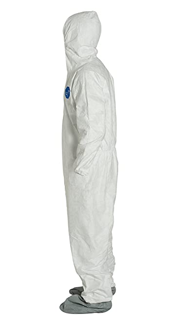 DuPont Tyvek 400 TY122S Individually Packed Disposable Protective Coverall with Elastic Cuffs, Attached Hood and Boots for PPE Vending Machines, ...